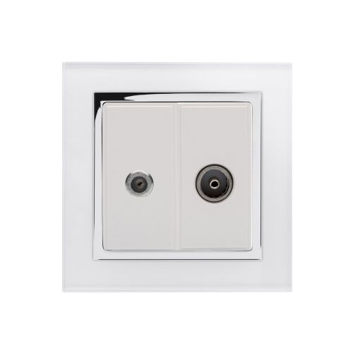 RetroTouch Crystal Satellite/TV Socket White Glass CT 04846